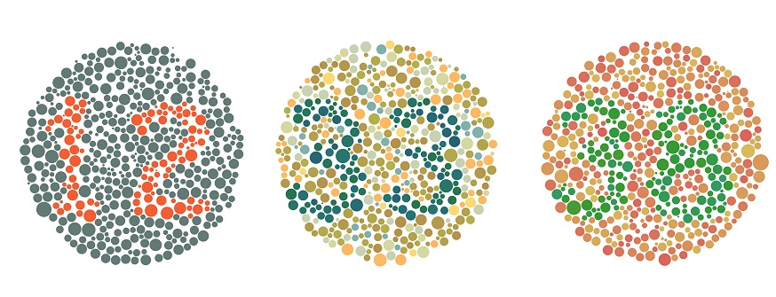 three circles containing coloured numbers designed to test for colour blindness