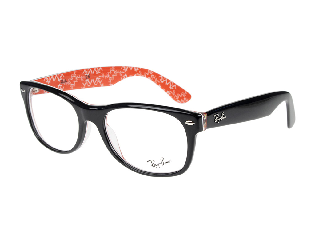 Ray-Ban New Wayfarer RX5184 2479 54 Top Black On Texture Red