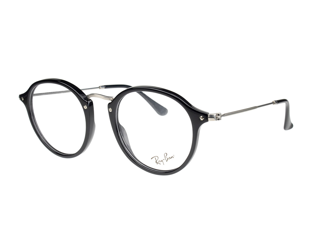 Ray-Ban Round RX2447V 2000 49 Shiny Black