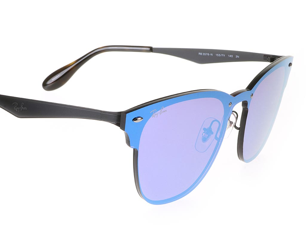 Ray Ban Rb3576n Blaze Clubmaster Dark Violet Sunglasses